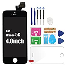 HJR For iPhone5 Black LCD Screen Assembly Display Accessories Digitize Replacement, Screen Protector&Repair Tools As Gifts