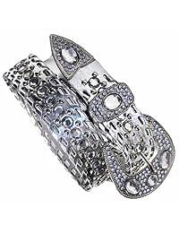 Luxury Divas Silver Rhinestone Jewel Studded Big Buckle Belt - M