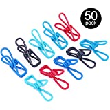 Findfly 50pcs Multi-purpose Windproof Clothespin Wire Clips Clothes Pins for Clothesline Utility, Picture, Notes, Decoration, Poster - 5 Colors