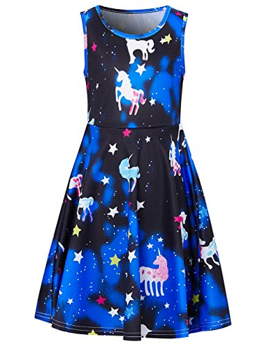 Gradient Dots - UNIFACO Summer Dresses for Girls Active School Unicorn Swing Knee-Length Dresses Cute Gradient Blue Black Galaxy Unicorn Star Dot Dress for Vacation Trip Hawaii Size 10-13