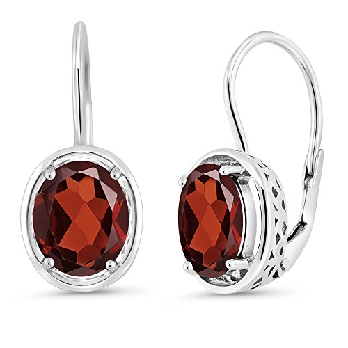 3.60 Ct Oval Red Garnet 925 Sterling Silver Dangle Earrings (Sterling Earrings Garnet Silver Oval)