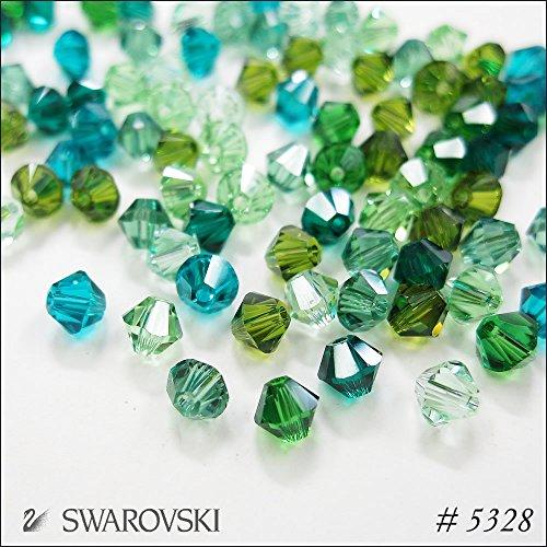 スワロフスキー ビーズ #5328(ソロバン型)【サイズ別カラーMIX】 4mm(30粒入) グリーン系の商品画像