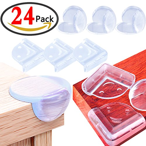 KeNeer Corner Guards Baby Safety Clear Table Edge Protector, Suitable for Chair, Bed, Cabinet and Shelves ( 12 pack Triangle Shaped & 12pack Ball Shaped with Strong 3M Double Sided Oily Adhesive)