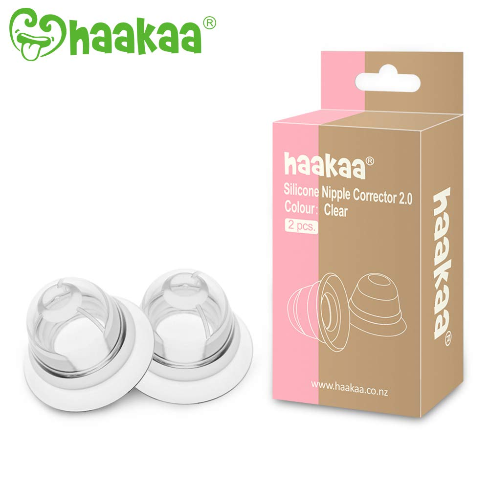 Haakaa Nipple Corrector Nipple Suckers for Flat and Inverted Nipples BPA PVC and Phthalate Free - 1 Pair with Carry Case by haakaa
