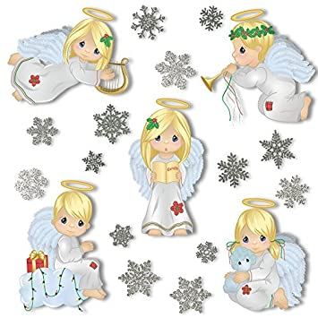 ArtiClings Christmas Angel Window Clings With  Glitter - Snowflake window stickers amazon
