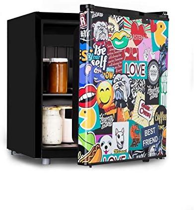 Klarstein Cool Vibe - Nevera, eficiencia energética Fe clase F, VividArt: puerta con diseño de pegatinas impresas, congelador, emisión ruido de tan solo 42 dB, volumen de 48 litros, negro[Clase de eficiencia energética F]