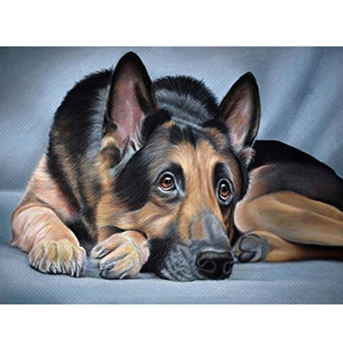 Fineser 5D DIY Animals Diamond Embroidery Painting By Number Cross Stitch Embroidery Crafts - Painting Animal Dog