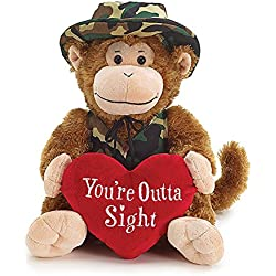 "Burton and Burton Camo Monkey Valentine Plush, You're Outta Sight, 11"""