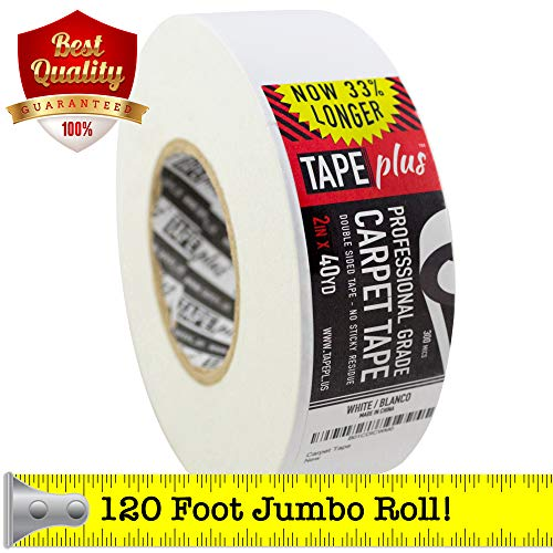 Professional Rug Tape - 2 Inch by 40 Yards (120 Feet! - 2X More!) - Double Sided Non-Slip Carpet Tape - Premium White Finish - Perfect Gripper for Holding Indoor Rugs in Place