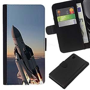 KingStore / Leather Etui en cuir / Sony Xperia Z1 L39 / Transbordador espacial