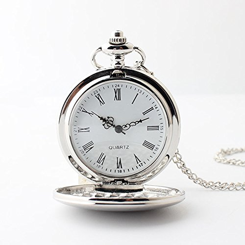 Shirleyle Vintage Flip Pocket Watch Men And Women Smooth Quartz Watch With Chain by Shirleyle (Image #1)