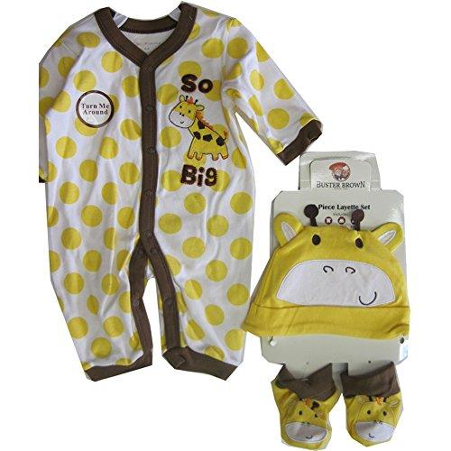 Buster Brown White Yellow Dot Hat Booties 3 Piece Bodysuit Set 0-3M (Set Yellow Clothes Capri Dot)