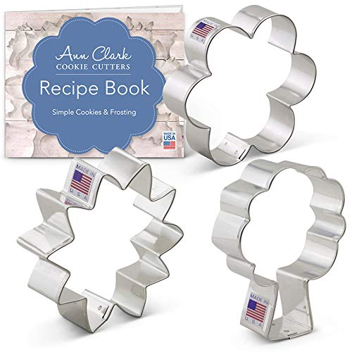 - Ann Clark Cookie Cutters 3-Piece Flower Bouquet Cookie Cutter Set with Recipe Booklet, Sunflower, Tulip and Tree/Bouquet