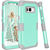 Galaxy S8 Case, KAMII 3in1 [Shockproof] Drop-Protection Hard PC Soft Silicone Combo Hybrid Impact Defender Heavy Duty Full-Body Protective Case Cover for Samsung Galaxy S8 (Aqua+Grey)