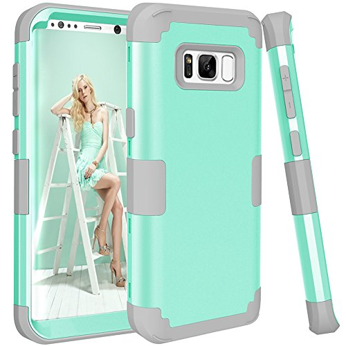 KAMII SWEET-450 Galaxy S8 Case, 3in1 [Shockproof] Drop-Protection Hard PC Soft Silicone Combo Hybrid Impact Defender Heavy Duty Full-Body Protective Case Cover for Samsung Galaxy S8 (Aqua+Grey)