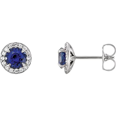 54719cce8 Amazon.com: Lab-Created Blue Sapphire Sterling Silver 3.5mm Round ...