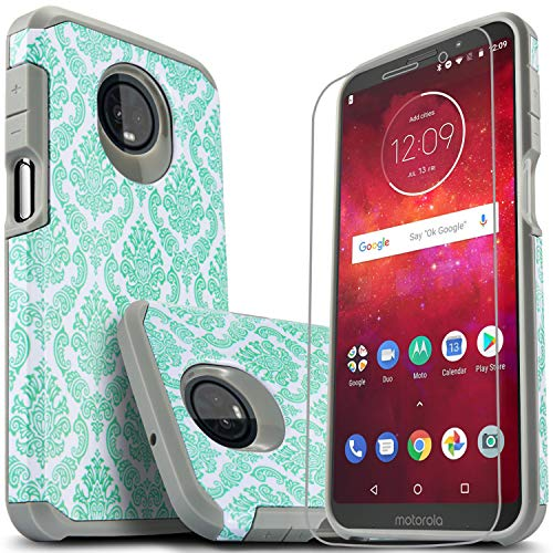 Moto Z3 Case, Moto Z3 Play Case with [Premium Screen Protector Included], Starshop Shock Absorption Drop Protection Impact Advanced Rugged Protective Phone Cover for Moto Z3/ Z3 Play-Teal Lace