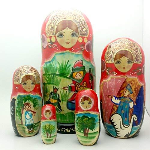 Frog Princess Russian Matryoshka Hand Painted FAIRY TALE Nesting Doll set / 7'' tall
