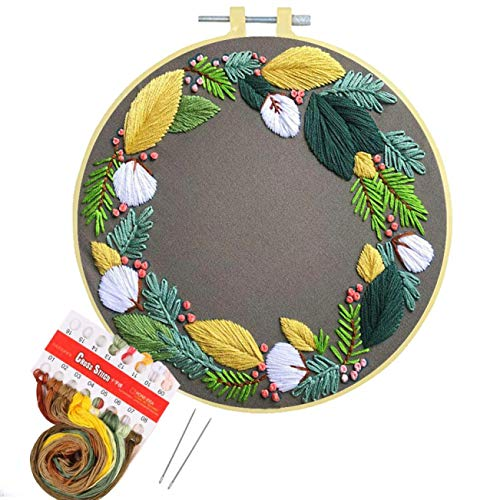 Artilife Embroidery Kit Beginners Cross Stitch Kit for Adults Kids Craft Stamped Hand Embroidery Hoops Floss Thread Fabric Needles, Leaves