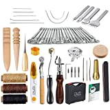 Caydo 59 Pieces Leather Craft Hand Tools Kit for Hand Sewing Stitching, Stamping Set and Saddle Making Including Instructions
