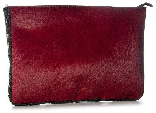 Genuine Fur Handbag Zip Leather Calf Shoulder with Red Shop Dark Bag Big Large Clutch qCxp6p1