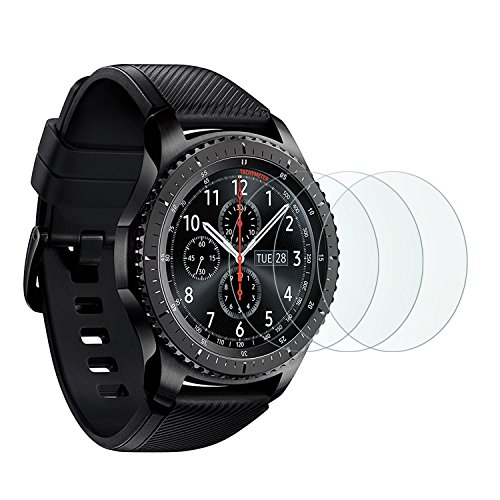 Samsung Gear S3 Screen Protector [3 Pack], OMOTON Full-Coverage Tempered Glass Screen Protector for Samsung Gear S3 with [9H Hardness] [Crystal Clear] [Scratch Resist] [Bubble Free Installation] from OMOTON