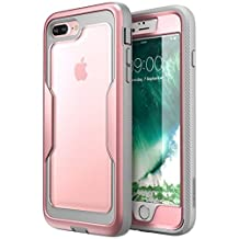 i-Blason iPhone 8 Plus Case, [Heavy Duty Protection] [Clear Back] [Magma Series] Shock Reduction / Full body Bumper Case with Built-in Screen Protector for Apple iPhone 7 Plus 2016 / iPhone 8 Plus 2017 Release (RoseGold)