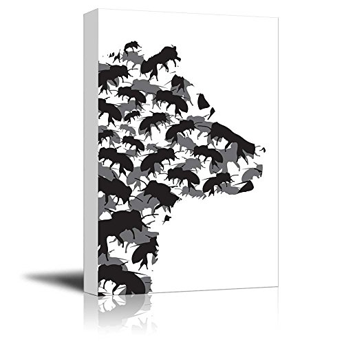 Wall26 honey bear and bees silhouette black and white exclusive artwork quirky fun design canvas art home decor 12x18 inches