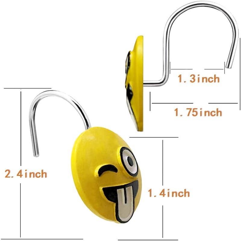 Leery Funny Emoji Smiley Face Decorative Shower Curtain Hooks Waterproof And 626850283914 Ebay