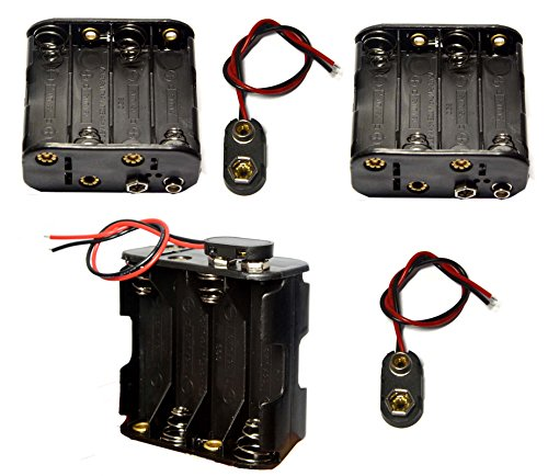 LAMPVPATH 3 Pcs 8 x 1.5V (12V) AA Battery Holder Leads with 3 Pcs I Fonts Clip Connector Plastic Housing Two Layers Battery Case ()