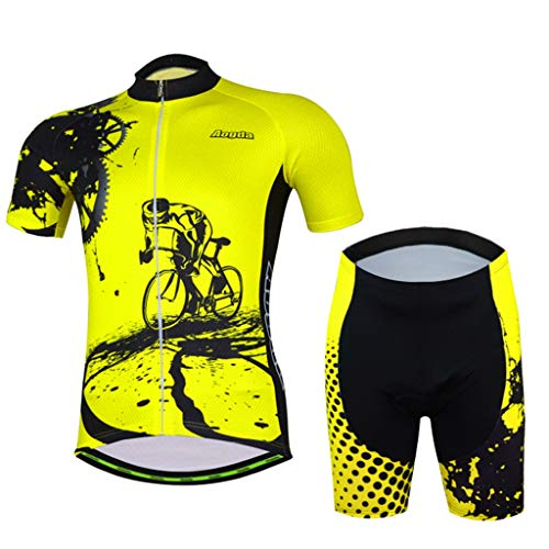 Bicycle Men's Short Sleeve Cycling Jersey and 3D Padded Short Set Sportswear Suit Set Breathable Quick Dry