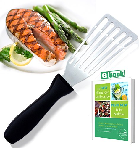 Stainless Steel Fish Spatula, Professional Slotted and Angled Turner, Kitchen Tool, Brilliant Seafood and Baking Cooking Utensil, with 6.5 Inch Blade, Comfortable Ergonomic Handle