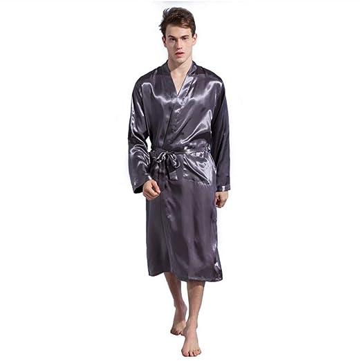 LQY-Z Gris Trajes de los Hombres Pijama de satén de Seda ...