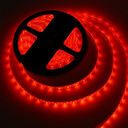 MEILI LED Light Strip SMD 3528 16.4 Ft 5 Meter Waterproof 300 LEDs 12V Flexible Rope Light (No Power Supply), Red (Red Led)