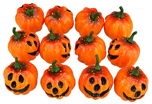 JEDFORE Fake Fruit Artificial Lifelike Simulation Mini Pumpkins Carved Scary Face Halloween Party House Decoration Photo Props - Set of 12