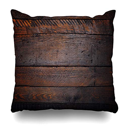 Ahawoso Throw Pillow Cover Laminate Brown Aged Rustic Wooden Table Flat Lay Nature Abstract Barn Black Blank Board Color Design Decorative Pillowcase Square 16x16 Home Decor Zippered Cushion Case