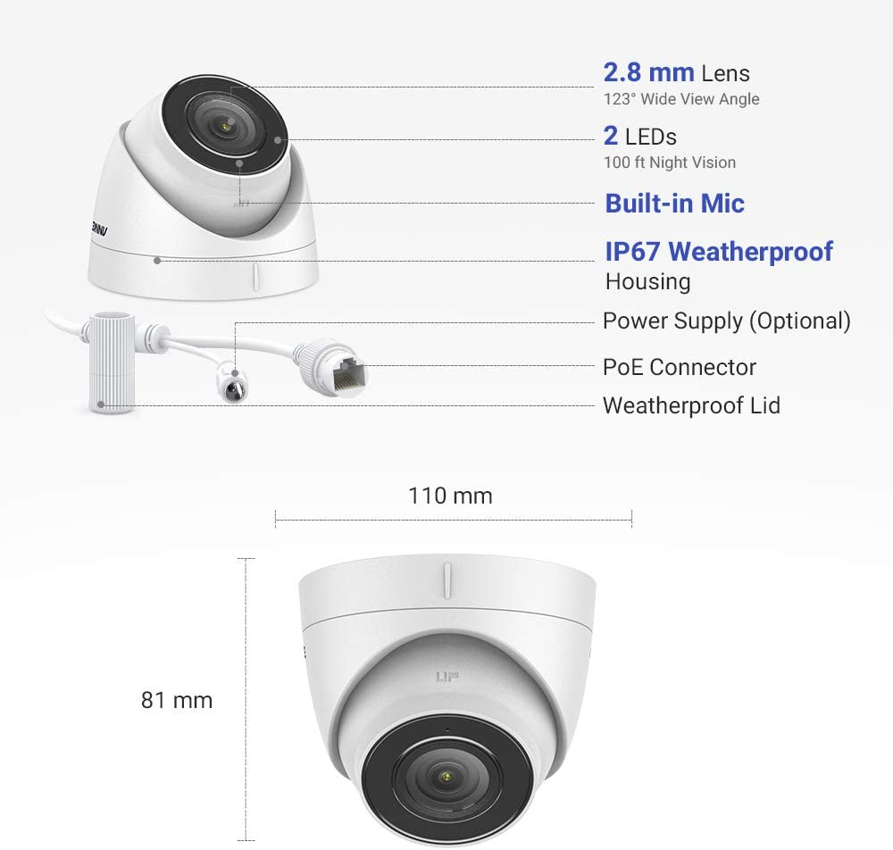 Motion Detection Built in Mic /& SD Card Slot Support up to 256GB ANNKE 4K Ultra HD Home Security Audio PoE Camera EXIR Night Vision Work with Onvif Compatible 8MP PoE Surveillance System /& 4K NVR | C800 Turret Weatherproof Outdoor