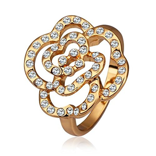 AmDxD Gold Plated Women Rings Gold Flower Hollow Shape with CZ Size 8