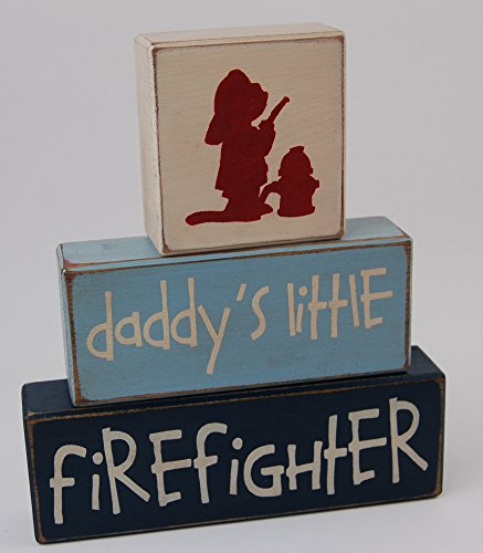 Daddy's Little Firefighter - Fireman Theme Primitive Country Wood Stacking Sign Blocks-Baby Shower Gift Centerpiece - Fireman Birthday - Fireman Nursery Room Home Decor