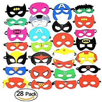 Superheroes Party Masks.28 Piece Felt Mask Birthday Party Supplies Cosplay Toy For (High Quality Silicone Halloween Masks)