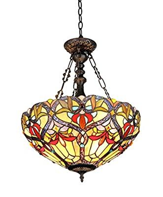 Chloe Lighting CH33352VR18-UH2 Byron, Tiffany-Style Victorian 2-Light Inverted Ceiling Pendent, 18-Inch, Multi-colored