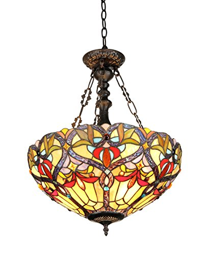 Chloe Lighting CH33352VR18-UH2 Byron, Tiffany-Style Victorian 2-Light Inverted Ceiling Pendent, 18-Inch, Multi-colored - Inverted Pendent