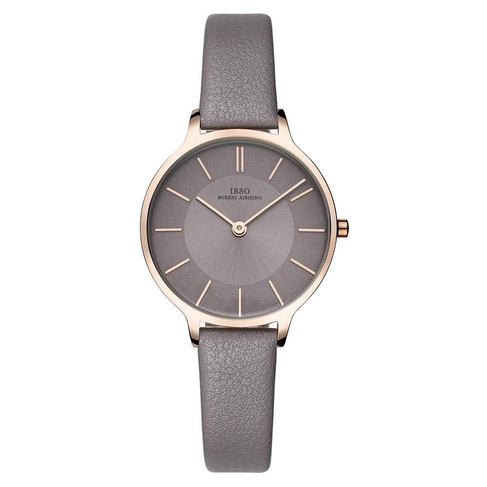 IBSO Female Watches Leather Strap Round Case Fashion Women Watch for Sale(6608-Full Grey)