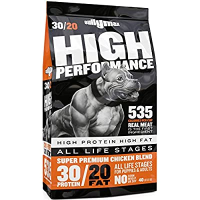 Bully Max High Performance Super Premium Dog Food. for All Ages (for Puppies & Adult Dogs). 535 Calories Per Cup. for Muscle, Size, Growth, and Weight.
