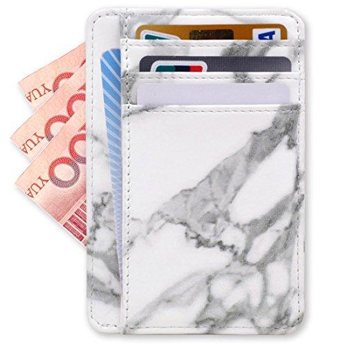 Kandouren Slim RFID Blocking Leather Front Pocket Wallet,White Marble Card Holder for Women & Girl,Money Clip,Creadit Card Holder Case