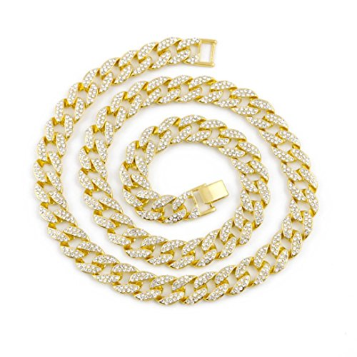 Botrong Crystal Gold Finish Miami Cuban Link Chain Men Hip hop Necklace Jewelry (24 - Stainless Magnetic Link Necklace Steel