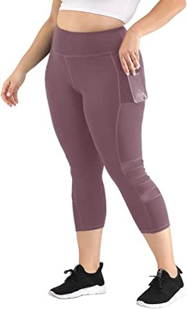 Uoohal Women's Plus Size Active Leggings High Waist Yoga Pants with Pocket Tummy Control Running Workout Athletic Legging