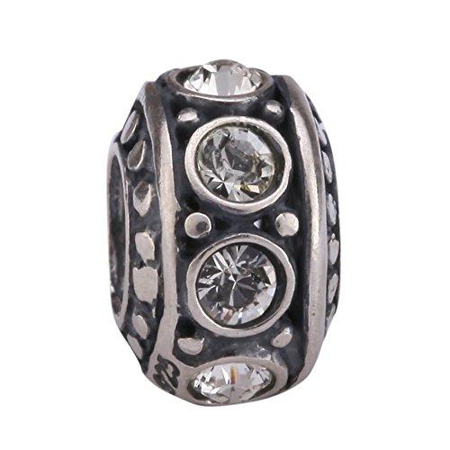 Sterling Silver Charm April Birthstone Bead Swarovski Crystal Diamond Clear fits All Charm Bracelet Women Girls Mother's Gifts EC213