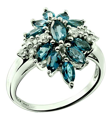 RB Gems Sterling Silver 925 Ring Genuine GEMS Marquise 2.3 Cts Rhodium-Plated Finish Cluster Style (8, London-Blue-Topaz) - Marquise Topaz Ring