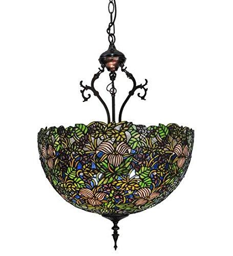 Meyda Tiffany Custom Lighting 52187 Trillium and Violet 3-Light Pendant, Mahogany Bronze Finish with Purple, Green and Blue Art Glass - Meyda Tiffany Garden